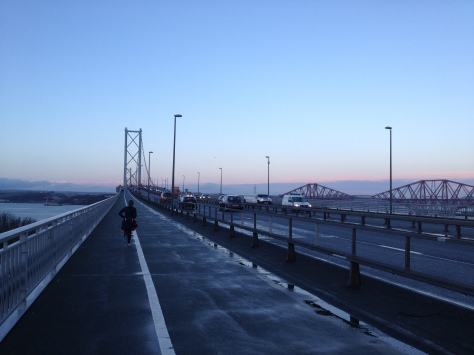 Finishing last year's #80milemonth as the sun went down on 2013 - Hogmanay on the Forth Road Bridge